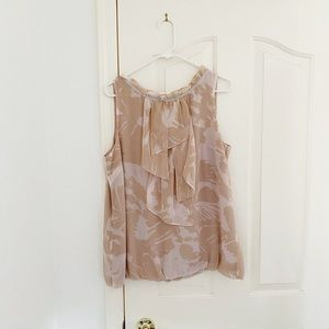 LOFT Pink Print High Neck Sleeveless Blouse